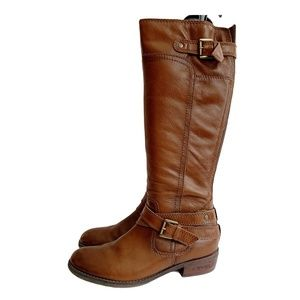 Brown Cognac Leather Slim Calf Tall Riding Boots